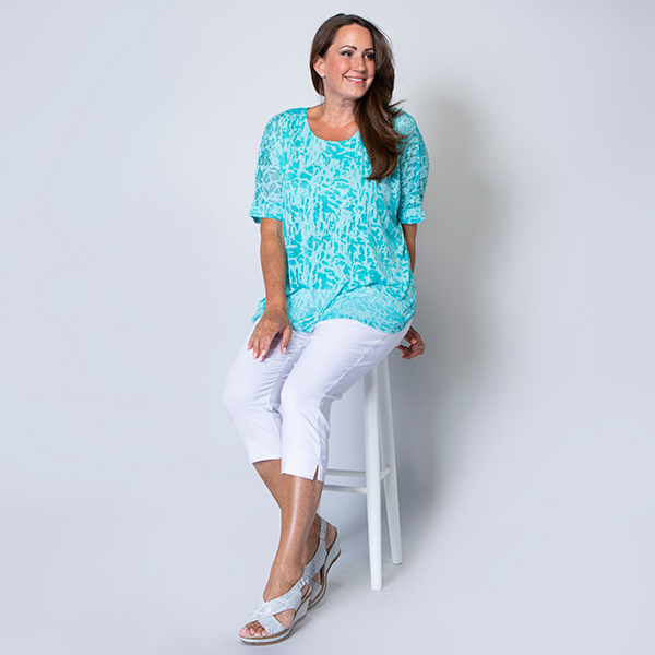 Nicole Burn Out Top with Lining Turquoise