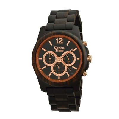 Green Time Gent's Hand Made Chronograph Sandal Wood Watch with Gem Stone Dial