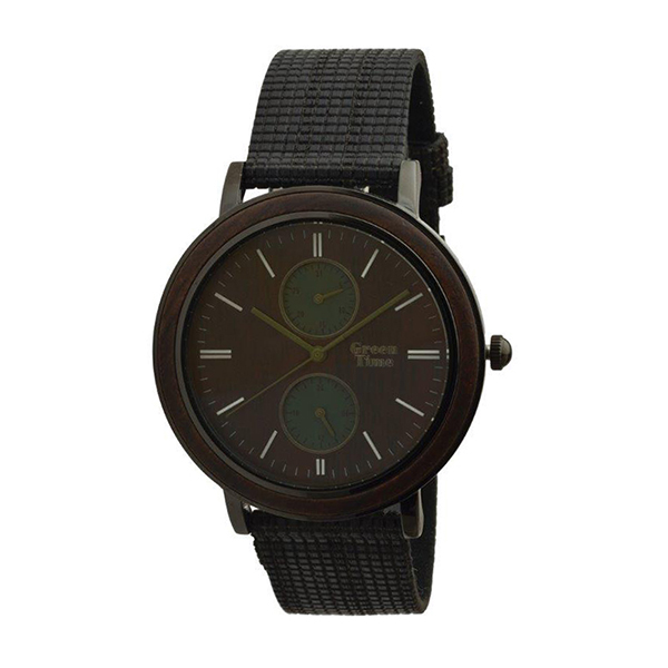 Green Time Gent's Hand Made Multi-Function Wood Watch Black