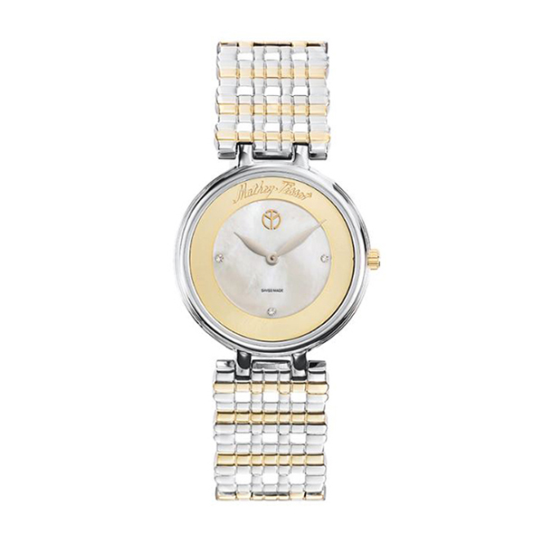 Mathey-Tissot Ladies' Aloma Watch with Two Tone Mesh Bracelet Mother Of Pearl