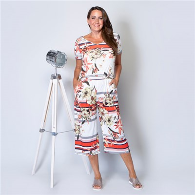 Styled By Printed Culotte Jumpsuit
