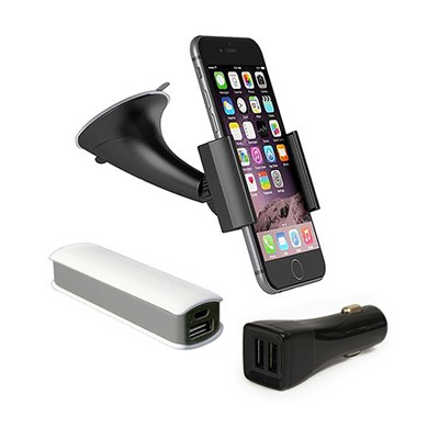 Travel Accessory Kit for Smartphones - Dash Mount, Car Charger, Power Bank