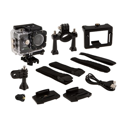 Bitmore HD Action Camera with Waterproof case, Bike Mount, Helmet Mount, Adhesive Mounts, Velcro Straps, Charging Cable + Extra Battery