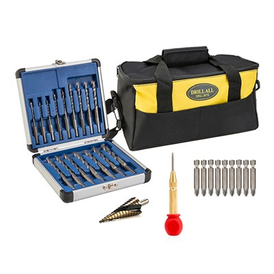 16pc Drill All Drill Bit Set with 9pc Screwdriver Set, Automatic Centre Punch, Spiral Cone Cutter & Tool Bag