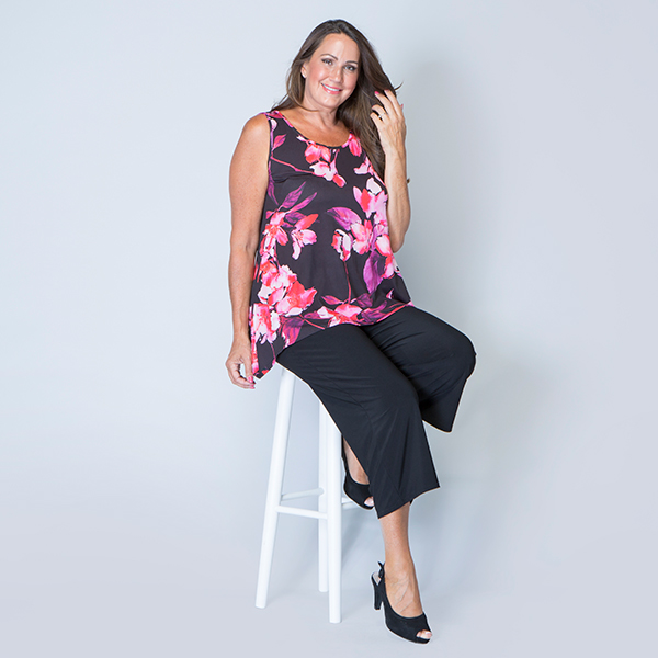 Styled By Print Dip Hem Sleeveless Tunic Hot Pink Floral