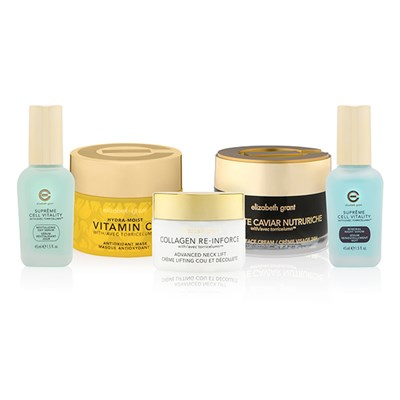 Elizabeth Grant 5 Piece Favourites Collection Supreme Day Serum 45ml, Night Serum 45ml, Caviar Face Cream 100ml, Neck Lift 50ml, Vit C Mask 100ml