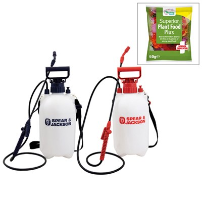 Spear and Jackson 5l Sprayer Twin Pack with FREE Blooming Fast 50g Sachet Fertiliser