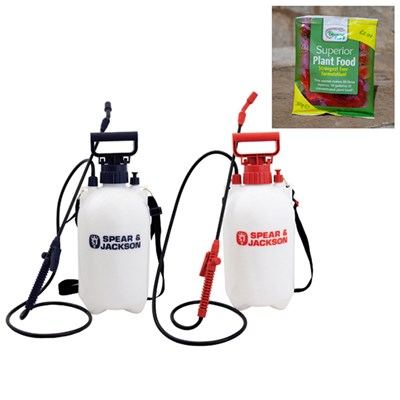 Spear & Jackson 5L Sprayer Twin Pack with Free Blooming Fast 50g Sachet Fertiliser