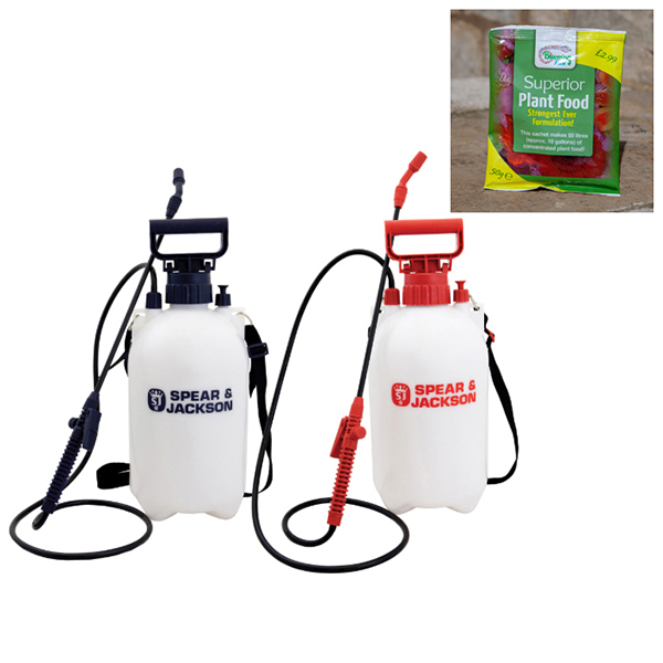 Spear & Jackson 5L Sprayer Twin Pack with Free Blooming Fast 50g Sachet Fertiliser No Colour