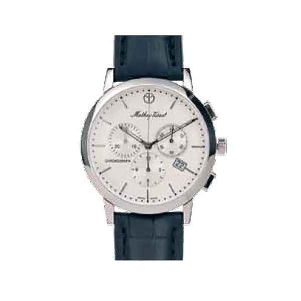 Mathey-Tissot Gent's Sports Classic Chronograph with Genuine Leather Strap White