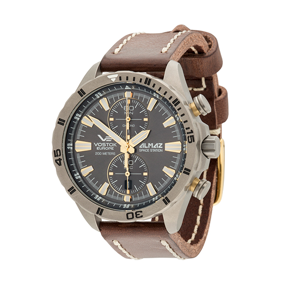 Vostok Europe Gent's Almaz Titanium Chronograph Watch with Genuine Leather Strap No Colour