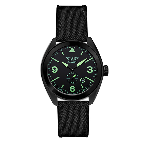 Aviator Gent's Swiss MIG 25 Foxbat Watch with Interchangable Straps Black