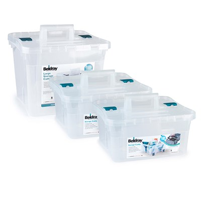 Beldray Stackable Storage Boxes with Handles 1 x Large 2 x Small