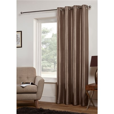 Faux Silk Lined Ring Top Single Curtain