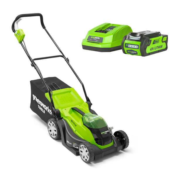 Greenworks G-Max 40V 35cm Cordless Lawnmower with 1 x 4Ah Lithium-ion Battery & Charger No Colour