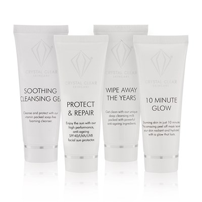 Sharons Summer Essential Skincare Kit - 10 Minute Glow 25ml, Soothing Cleansing Gel 25ml, Wipe Away the Years Cleaner 25ml, Protect & Repair 25ml
