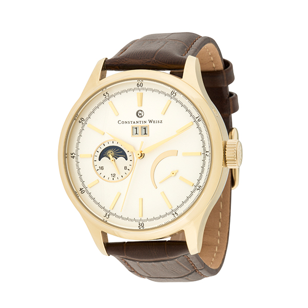 Constantin Weisz Gent's Automatic Watch with IP Plated Case, with Day - Night indication, Genuine Leather Strap and 6 Slot Box White/Gold