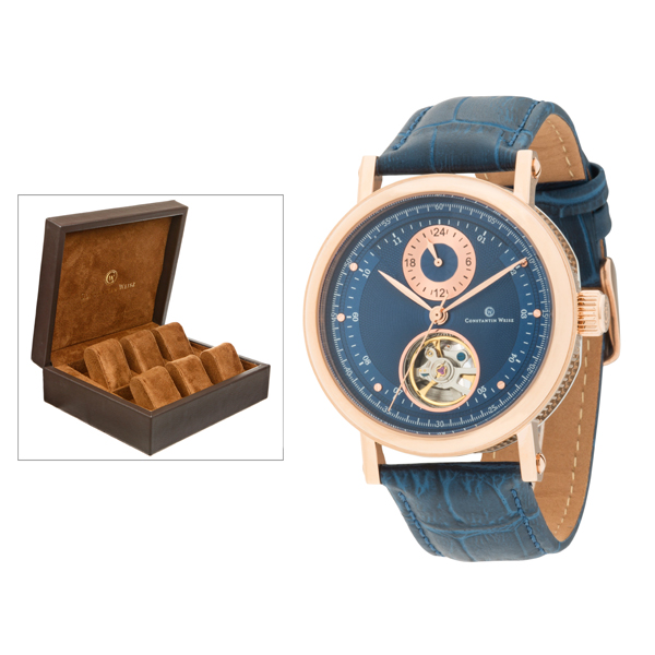 Constantin Weisz Gent's Limited Edition (to 400pcs) Automatic Watch with Open Heart and Genuine Leather Strap and 6 Slot Box Blue