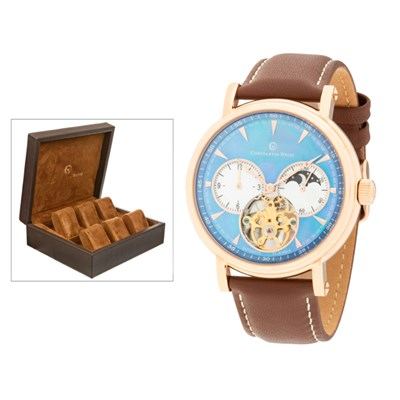Constantin Weisz Gent's MOP Dial Automatic Watch, Leather Strap and 6 Slot Collectors Box