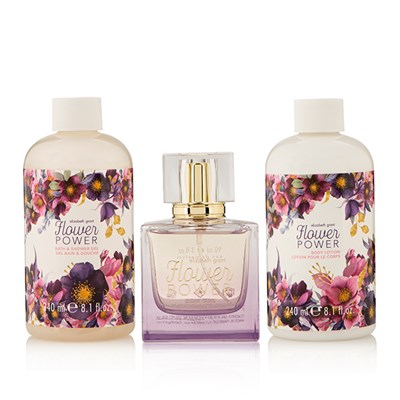 Elizabeth Grant Flower Power Collection EDP 90ml, Body Cream 240ml and Bath & Shower Gel 240ml