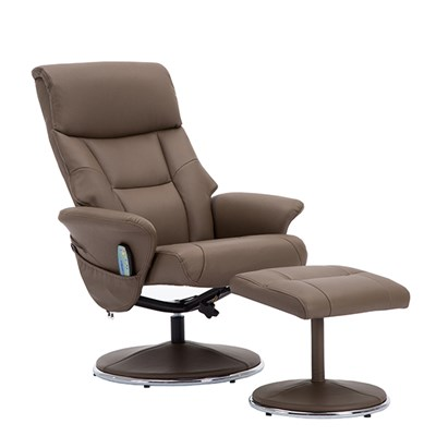 Luxury Swivel Recliner Chair and Footstool with Heat and Massage