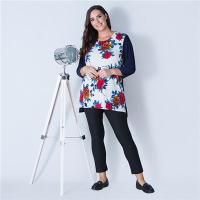 Anamor Print Front Side Split Tunic with 3/4 Sleeves