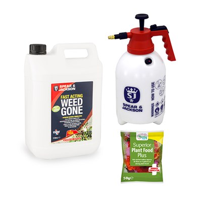 Spear & Jackson 5L Fast Acting Weed Gone and 2L Sprayer & 50g Sachet of Fertiliser