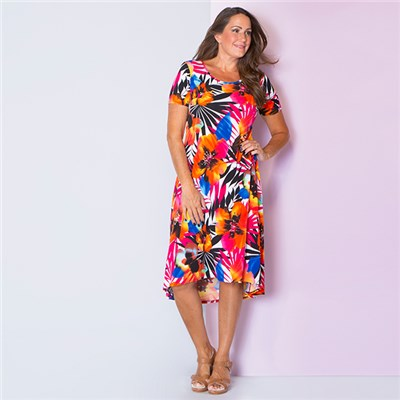 Nicole Printed Short Sleeve Hi Lo Hem Maxi Dress