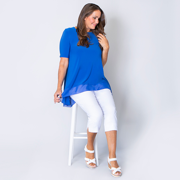 Nicole Half Sleeve Tunic with Chiffon Godet Trim Cobalt