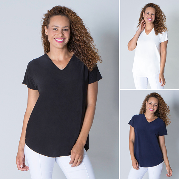 Nicole 3 Pack Soft Touch V-Neck Top Black/Navy/Ivory