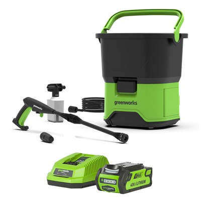 Greenworks GDC40 40V 70bar Cordless Pressure Washer with 4Ah Lithium-ion Battery and Charger