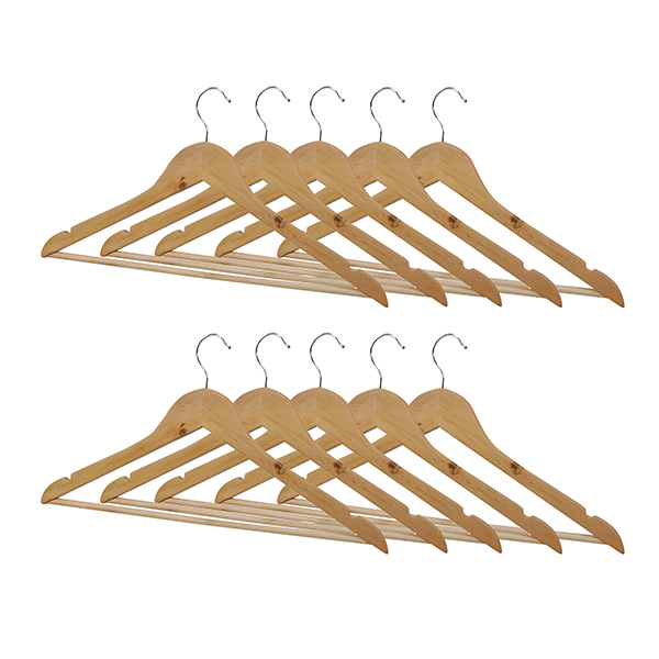 Wooden Coat Hangers (Pack of 10) No Colour