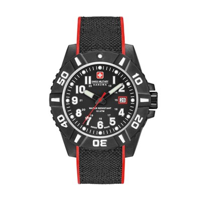 Swiss Military by Hanowa Gent's Black Carbon Watch with Silicone/Nylon Strap