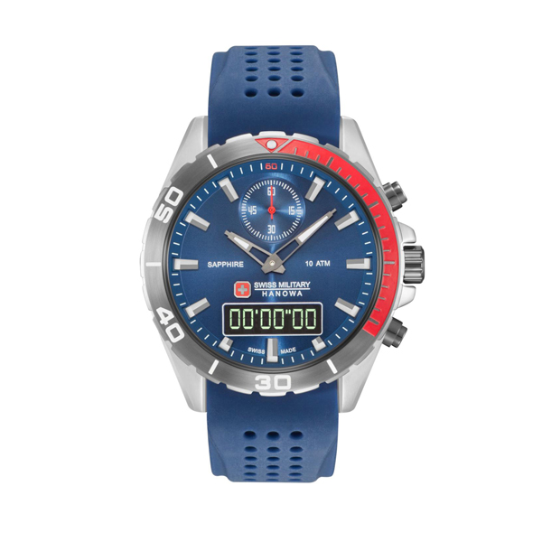 Swiss Military by Hanowa Gent's Multi-Function Multi Mission Watch with Silicone Strap Blue