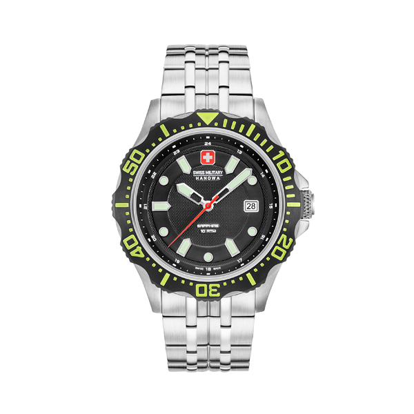 Swiss Military by Hanowa Gent's Patrol Watch with Stainless Steel Strap Black/Green