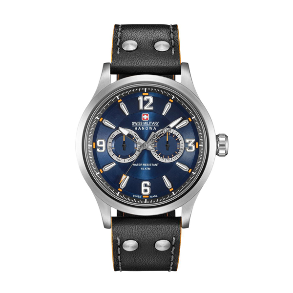 Swiss Military by Hanowa Gent's Chronograph Undercover Watch with Genuine Leather Strap Blue