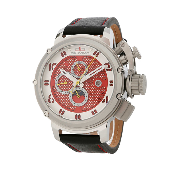 deLorean Gent's Limited Edition Automatic Renegade Watch with Genuine Leather Strap Red