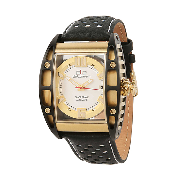 deLorean Gent's Limited Edition Automatic Space Frame Watch with Genuine Leather Strap Yellow
