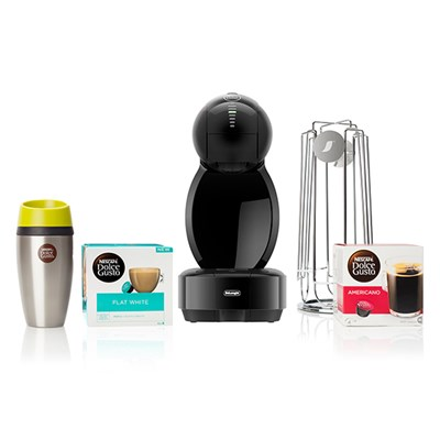 De'Longhi Nescafe Dolce Gusto Colors Bundle Plus Flat White PODS and Free Travel Mug