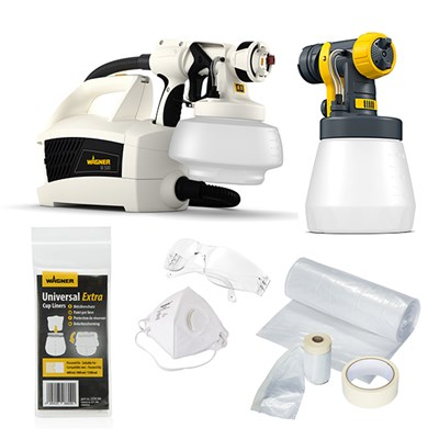 Wagner W500, 800ml Wood and Metal Attachment, 5 Paint Liners, Universal Masking Kit, Paint Spray Mask and Safety Glasses