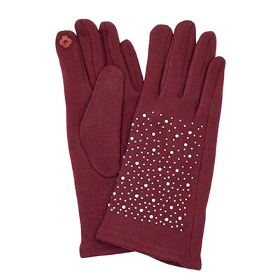 Knitted Glove with Diamante Detail