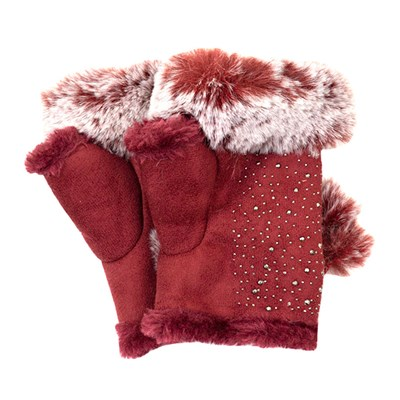 Fingerless Suedette Glove with Fur Trim and Diamante Detail