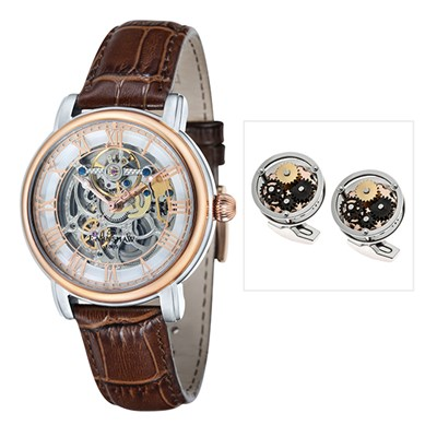 Thomas Earnshaw Gents Longcase Automatic Watch with Genuine Leather Strap & Cufflinks