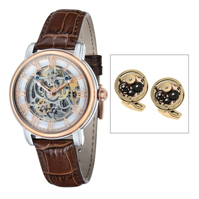 Thomas Earnshaw Gent's Longcase Automatic Watch with Genuine Leather Strap & Cufflinks