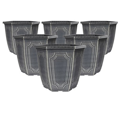 Set of 6 x 10 Inch Hexagonal chalk effect planters