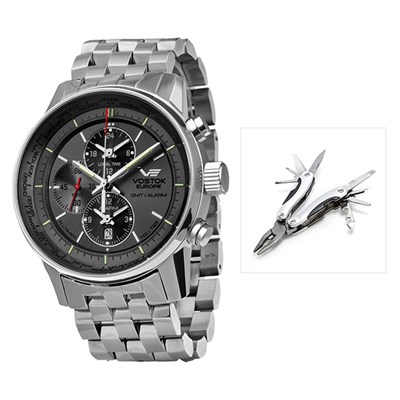 Vostok Europe Gents GAZ-14 GMT Plus Alarm Function with Stainless Steel Bracelet and Vostok Europe Multi-Tool