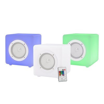 Three Pack Steepletone Cube Connex 20 Colour Changing, Portable, Splash-Proof Bluetooth Speaker
