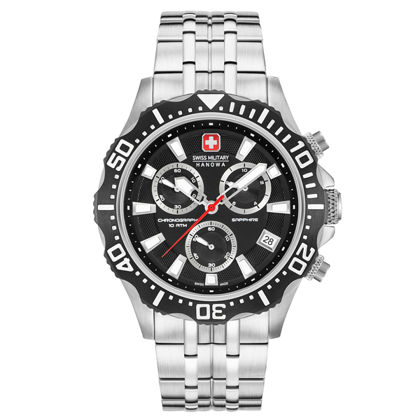 Swiss Military By Hanowa Gent's Chronograph Patrol Watch with Stainless Steel Bracelet Black