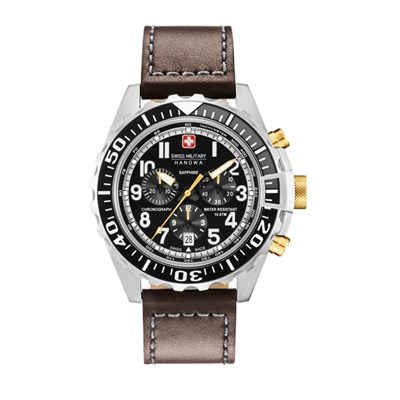 Swiss Military by Hanowa Gent's Chronograph Touchdown Watch with Genuine Leather Strap