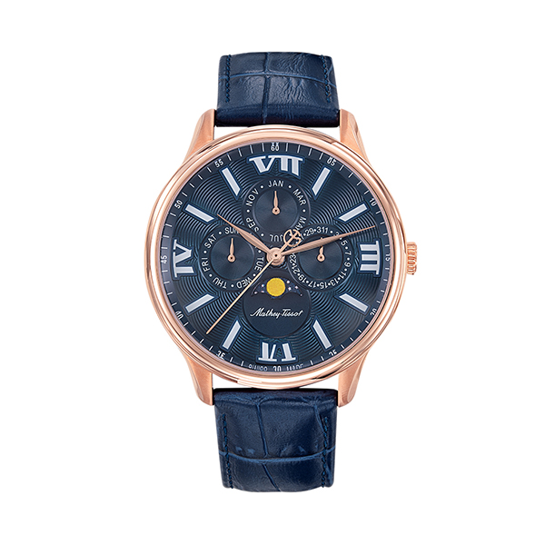 Mathey-Tissot Gent's Edmond Moon Phase With Genuine Leather Strap Blue